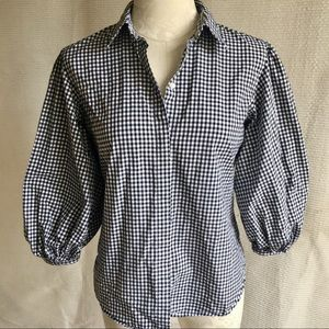 Vintage Gingham Peasant Puffy Short-Sleeved Blouse